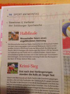 Sieg im Halbfinale - Artikel in den Salzburger Nachrichten